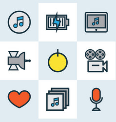 Multimedia icons colored line set with favorite vector