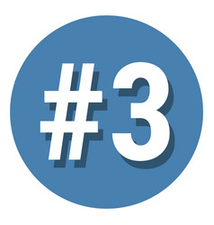 Number 3 three symbol sign in circle 3rd third vector