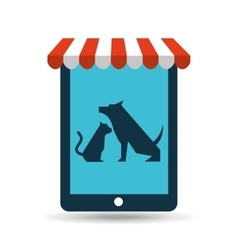 Online pet shop and dog and veterinary vector