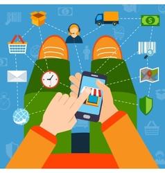 Online shopping flat concept vector