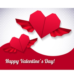 origami paper hearts vector image