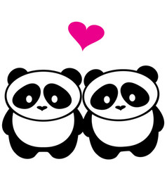 Panda bear love vector