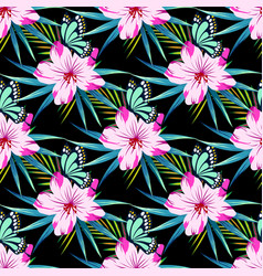 pattern with flowers on black vector image