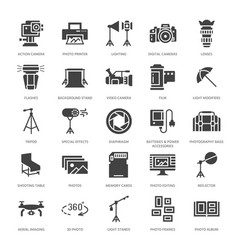 Photography equipment flat glyph icons digital vector
