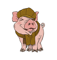 Pig in winter clothes vector
