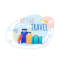 Promotional travel banner with bags and airplane vector