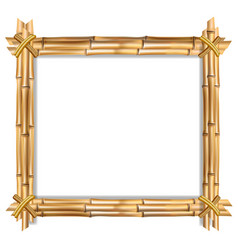 Rectangle brown bamboo border frame with space vector