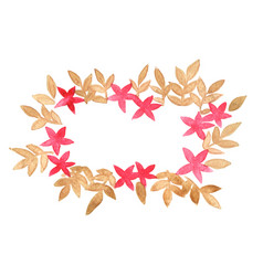red flower and brown leaves floral wreath vector image