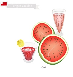 Red Watermelon Otai or Tongan Waterm Drink vector image