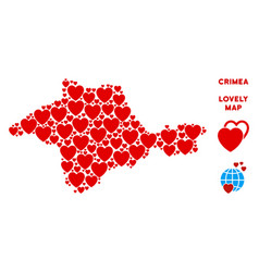 romantic crimea map collage of hearts vector image