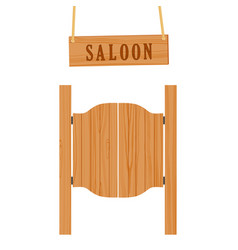 Saloon doors and sign vector