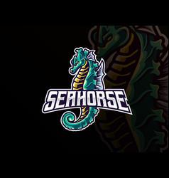 Seahorse mascot esport logo design vector