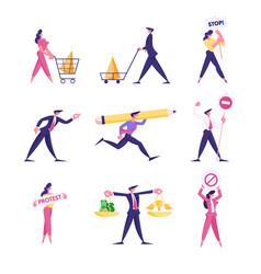 set businesspeople protest on demonstration vector image