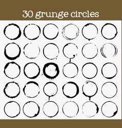 Set of 30 grunge circle textures vector