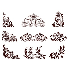 Set of floral element vector