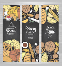set of retro chalk drawing bakery banners bakery vector image