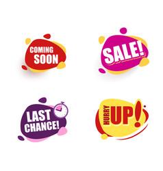 set speech bubble announcement coming soon sale vector image