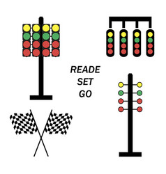 Set start line racing starting lights system on vector