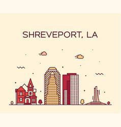 Shreveport skyline louisiana usa city line vector