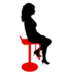 silhouette girl sitting on a chair white vector image