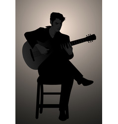 silhouette of spanish guitarist playing flamenco vector image