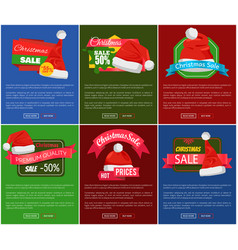 Six christmas sale 50 percent off promo posters vector