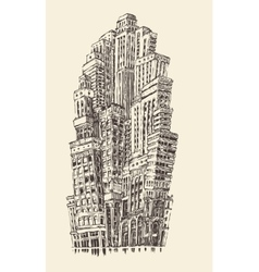 Skyscrapers Big City Architecture Vintage Engraved vector