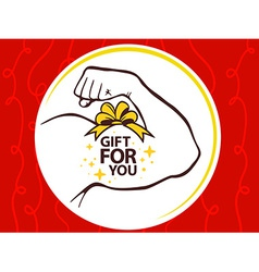 strong man hand with icon of gift for yo vector image