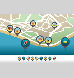 Summer camping pin map icon located on map vector