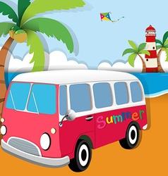 Summer theme with van on beach vector