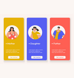 template design for mobile app page with family vector image
