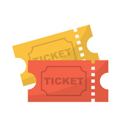 ticket icon pair yellow and red movie ticket vector image