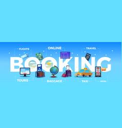 Travel tourism booking big letters composition vector