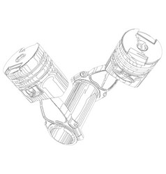 two pistons on a white background vector image