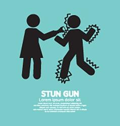 Woman using a stun gun with a man vector