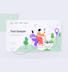 Women riding bike using mobile gps navigation app vector