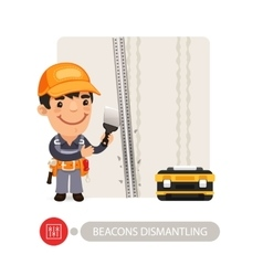 Worker Dismantling Wall Beacons vector image