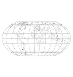 world map with meridians and parallels grid vector image