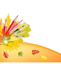Back to School Background with Leaves and Pencils vector image vector image