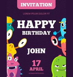 children happy birthday invitation card vector image vector image