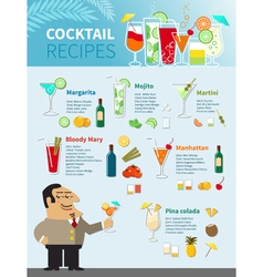 Cocktail Recipes Poster vector image vector image