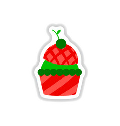 In paper sticker style cherry vector