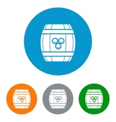Wine barrel flat icons set vector image