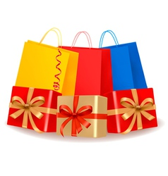 collection of holiday shopping bags and gift boxes vector image vector image