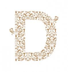 floral letter d ornament font vector image vector image