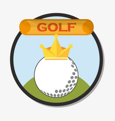 Golf ball with golden crown emblem vector