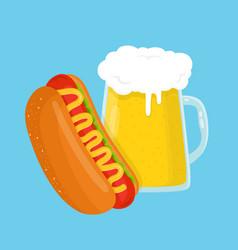 hot dog and beer glass flat cartoon vector image
