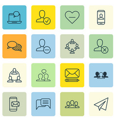 set of 16 social icons includes society startup vector image vector image