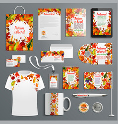 corporate identity set with autumn brand symbol vector image
