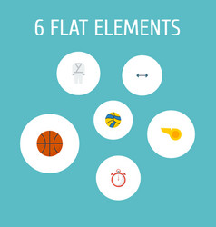 Flat icons blower volleyball basket and other vector